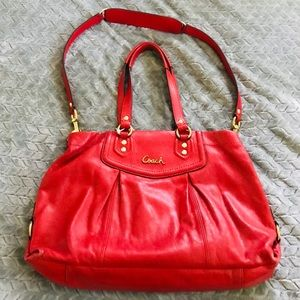 Coach // Red leather Ashley totebag